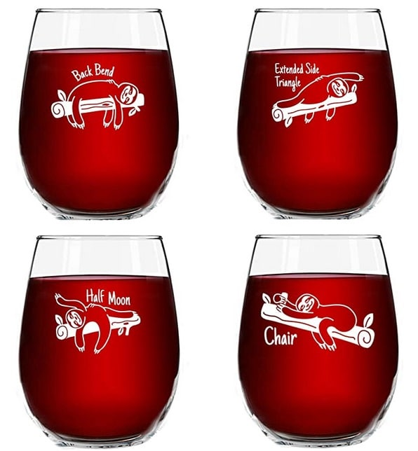 yoga wine glasses