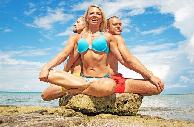 three person yoga lotus