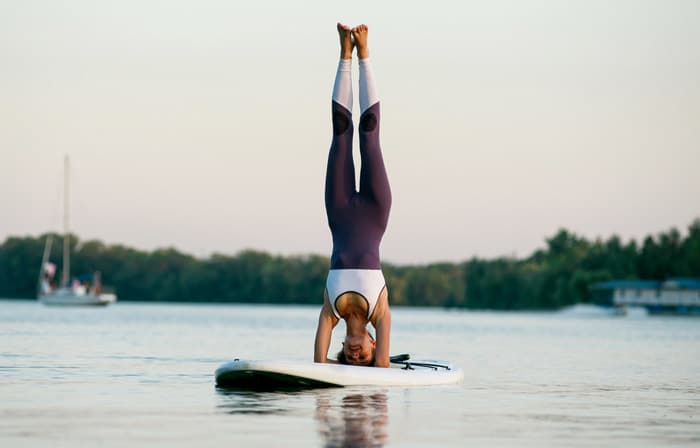 headstand - paddle board yoga poses